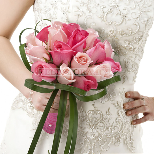 "Wedding Flowers Pink Roses Bouquet ""Idyll"""