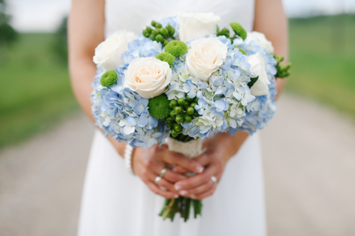 "Bridal Blue Hydrangea& Roses Bouquet ""Happy Day"""