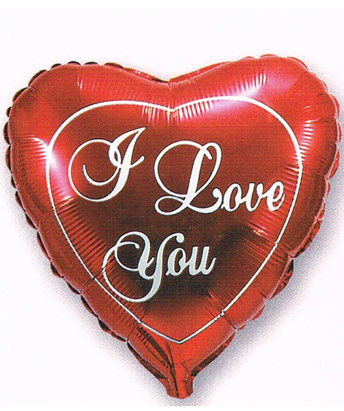 "Foil&Mylar Balloon ""I love you"" in heart shape  filled with Helium"