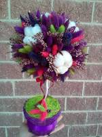 "Multi-colored lavender& lagurus flowers in a Hat Box ""Autumn Notes"""