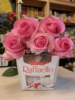 Bouquet of 5 Pink Roses& Chocolates Raffaello