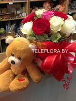 Roses in a Luxury Box and Teddy Bear