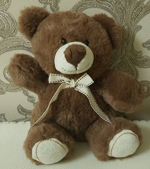 Soft toy teddy bear with bow, brown