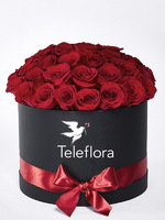 Red Roses in a Black Hat Box